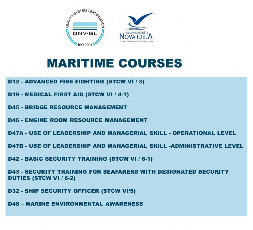 COLLEGE OF INSPECTION AND PERSONNEL MANAGEMENT IN MARITIME AFFAIRS - SPLIT/CROATIA